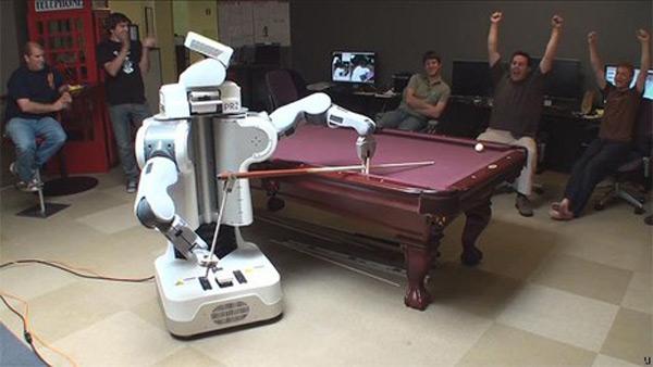 robot pool player hustle human pesky game