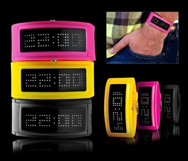 neon led guru black dice watch timepiece japanese