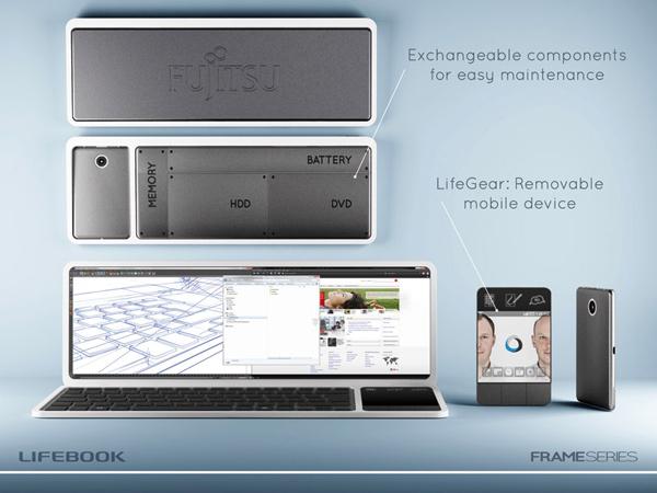 designboom fujitsu lifebook frame concept design computing laptop tablet smartphone