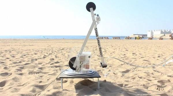 stone spray robot 3d printer architecture beach