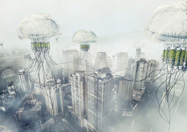 robotic jellyfish pollution ph conditioner skyscraper