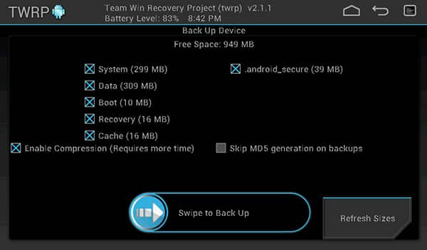 TWRP Backup Options
