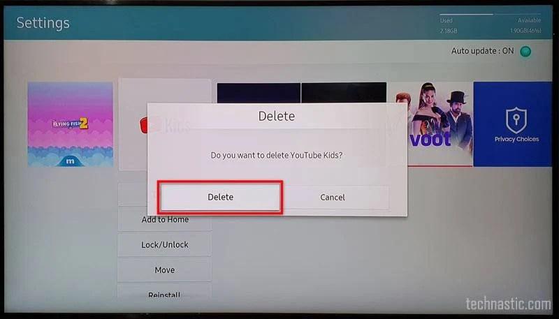подтвердить удаление приложения samsung tv