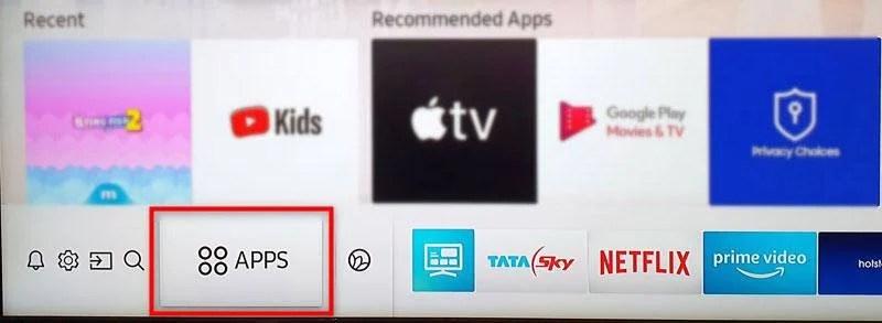 Опция телевизионных приложений Samsung