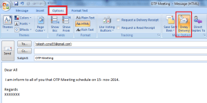 Schedule Email In MS Outlook 2007