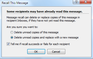 Recall Sent Email in Outlook 2007