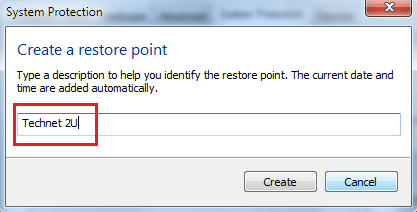 create system restore point windows 7
