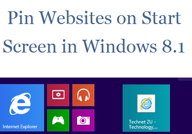 Pin Websites to the Start Screen In Windows 8.1