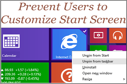 Prevent user to customize start screen