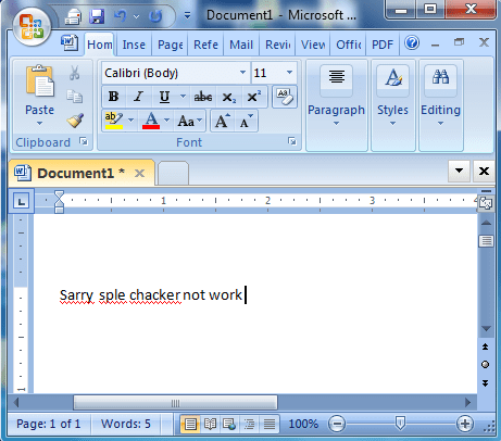 Spell Check Does Not Working on MS Word 2007
