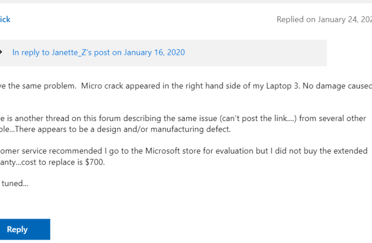 Microsoft offers free repairs for Surface Laptop 3 devices with a cracked display problem