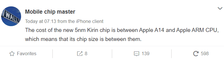 Huawei Kirin 1020 5nm chip is bigger and more expensive than Apple A14 –