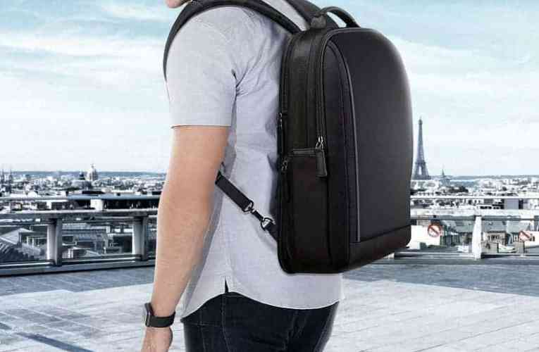 Leather backpack with USB connection for sale by Lululook