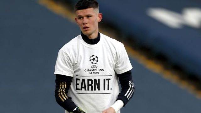 Leeds United goalkeeper Illan Meslier wears a shirt opposing the new European Super League