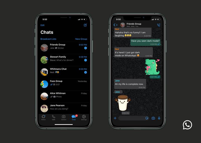 WhatsApp dark mode එක Android සහ iOS පරිශීලකයන් හට නිකුත් කිරීමට කටයුතු කරයි
