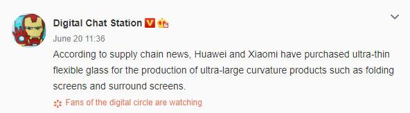 අනාගතයේ නිෂ්පාදනය කරනු ලබන foldable devices සඳහා UTG තාක්ෂණය භාවිතා කිරීමට Huawei සහ Xiaomi සමාගම සූදානම් වෙයි