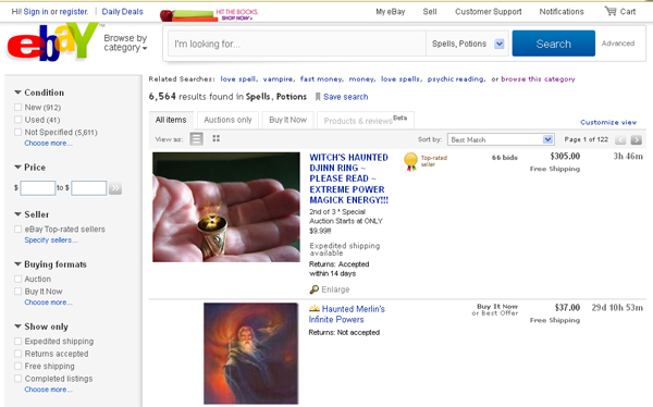 Ebay to ban sale of psychic and magic goods on site