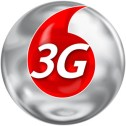 A logo of 3G inside a red drop with a silver background