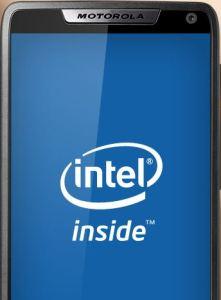 RAZR I display showing the Intel Inside logo