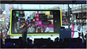 The Nokia City View Augmented reality is demonstrated on stage