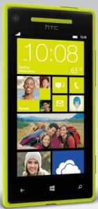 Front look at a yellow HTC 8x