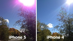 A comparison shot of the iPhone 5 and the iPhone 4 capability to handle flare