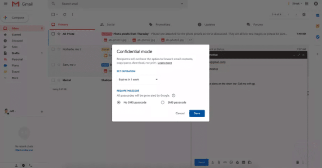The new Gmail confidential mode