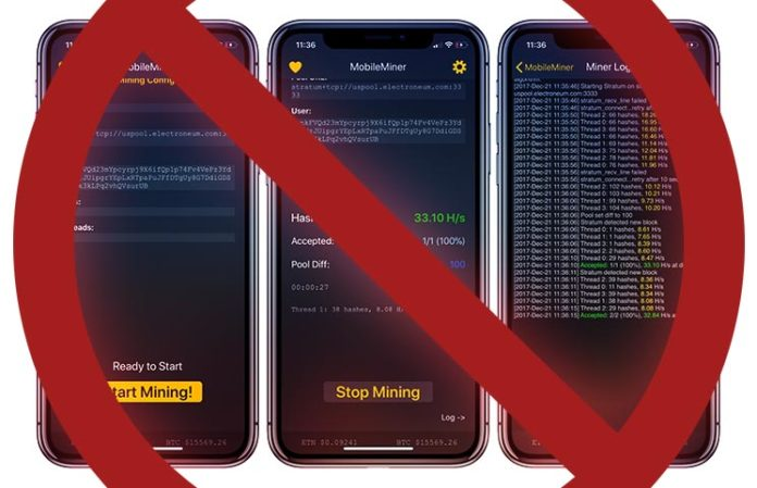 Apple: Don't Mine Cryptocurrencies on an iPhone