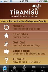 Tiramisu iPhone start page (Tiramisu Transit LLC)