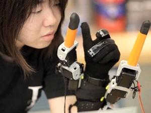 Faye Wu wearing robotic device