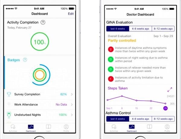 Asthma app screen shots