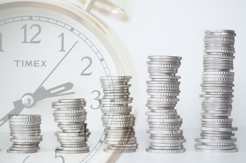 Clock and coins graphic