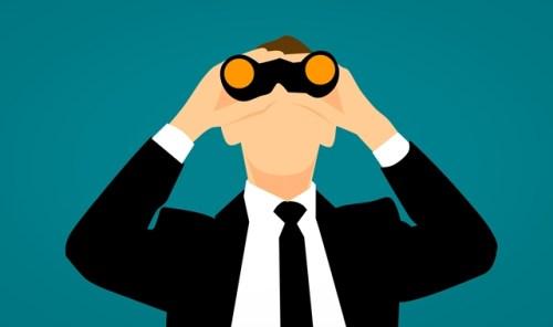 Binoculars searching graphic