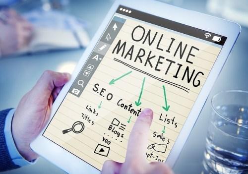 Online marketing on tablet