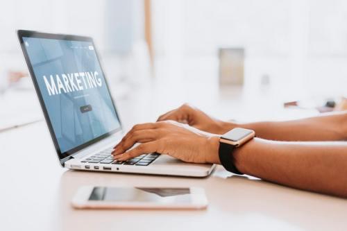 Marketing screen on laptop