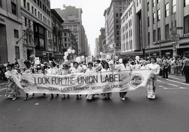 Labor union marchers
