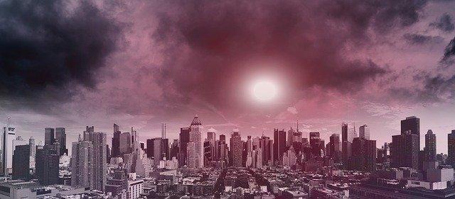 Climate change skyline