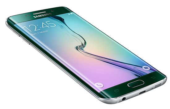 Samsung's new S6 edge smartphone brings a lustrous emerald green metallic finish, one of several colour options and a distinctive curved glass edge to the company's S series lineup. Photo courtesy Samsung.