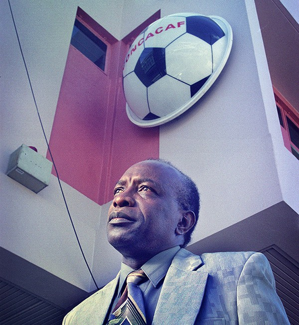 Jack Warner photographed outside the St Vincent Street offices of Concacaf in the early 1990's. Photograph by Mark Lyndersay.