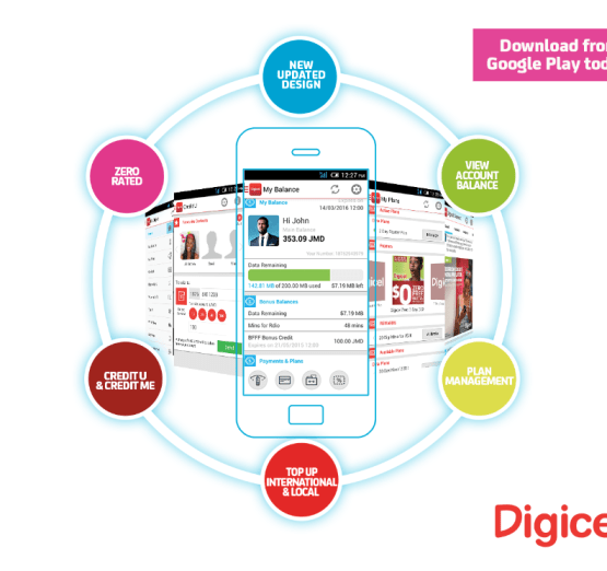 Promotional art for Digicel's revamped app for its customers.