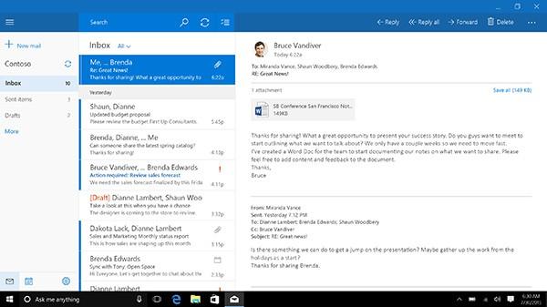 The Windows 10 Mail app