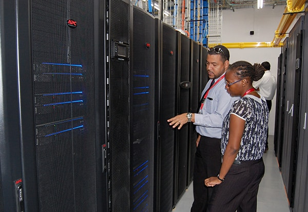 Digicel IT technicians at the new datacentre. Photo courtesy Digicel.