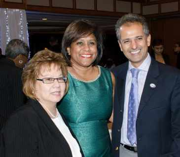 Angela Lee Loy, Executive President TTCSI, with Minister of Trade and Industry, Senator Paula Gopee Scoon and TSTT EVP Strategic Alliance, Enterprise and Tobago Operations Rakesh Goswami at the awards event. Photo courtesy TSTT.