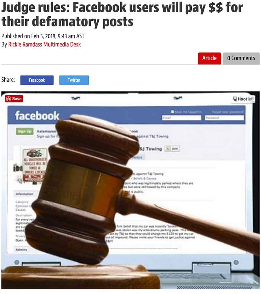 Court rules on local user's defamatory FB posts