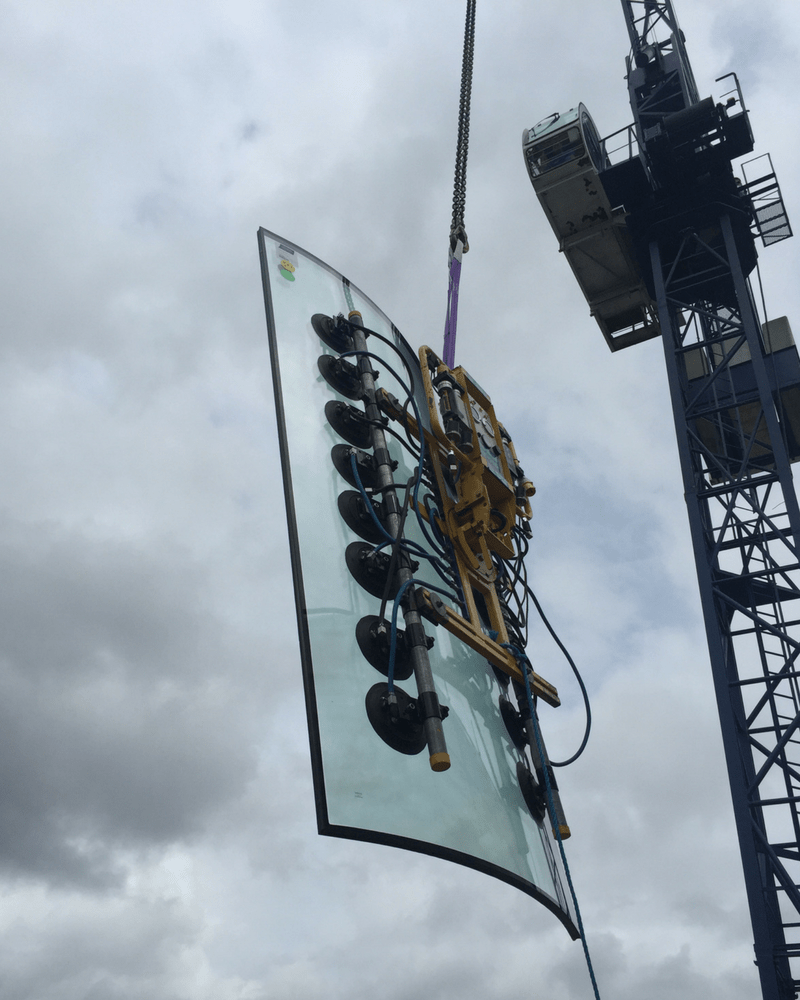 crane lift for curved glass