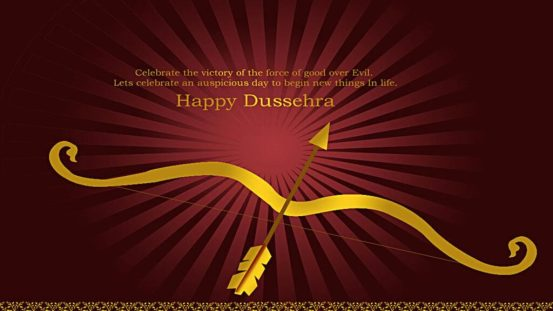 happy dussehra festival card with glowing light effect