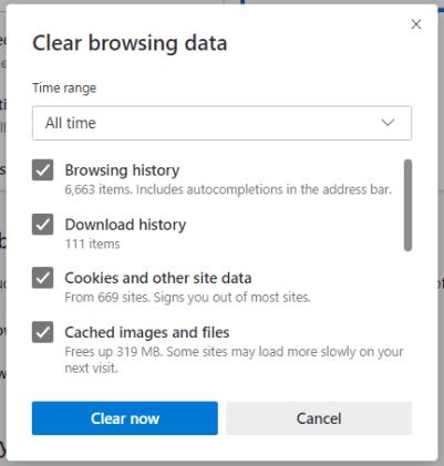 Clear Cache in Microsoft Edge