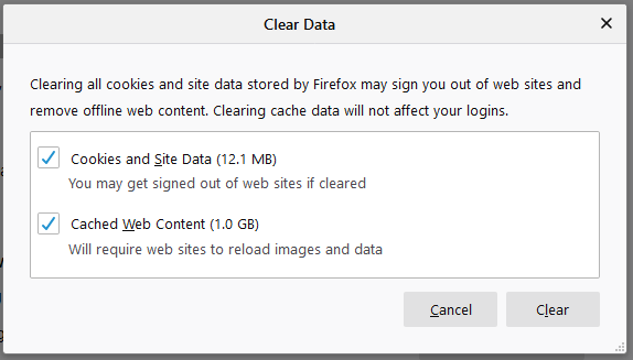 Clear cache in Mozilla Firefox