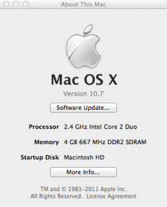 About this Mac with Lion showing Core2Duo