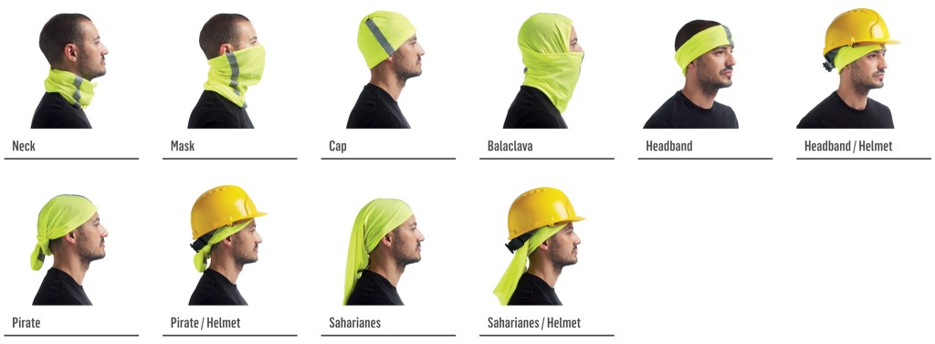 Montage of all the 10 ways to wear a Professional Series Buff®. A man is standing sideways to the camera and is shown wearing the Buff® as scarf (Neck on image), face mask (Mask on image), beanie (Cap on image), Balaclava, Headband, Headband under the helmet, Bandana (Pirate on image), Bandana with helmet, Legionnaire style cap (Saharianes on image) and Legionnaire style cap with helmet. Source: buff-pro.dk screenshot